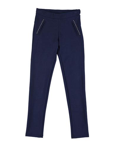 Studded Knit Leggings, Navy, Size 8-16