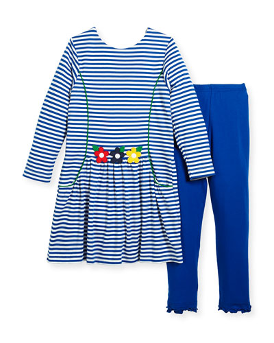 Stripe Dress w/ Solid Leggings, Size 2-6X
