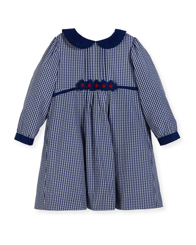 Checkered Dress w/ Floral Detail, Size 2-4