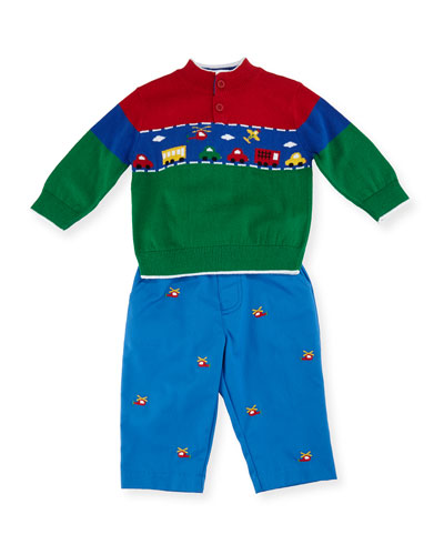 Vehicle Knit Sweater w/ Helicopter Twill Pants, Size 12 Months-4T