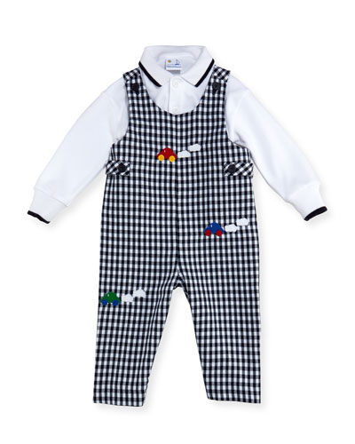 Checkered Twill Overalls w/ Knit Polo, Size 6-18 Months