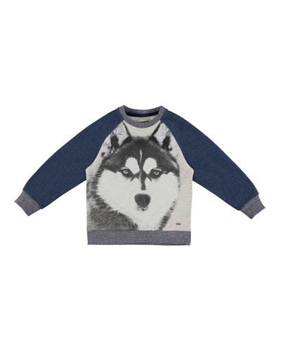 Wolf Pullover Sweatshirt, Blue, Size 3-7