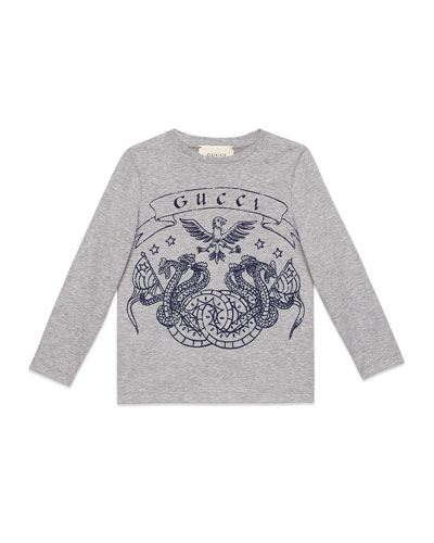 Long-Sleeve Eagle-Print T-Shirt, Size 4-12