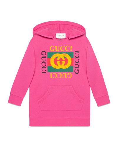 Gucci Print Raw-Edge Hooded Sweatshirt, Size 4-12