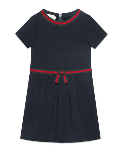 Short-Sleeve Web Ribbon Dress, Size 4-12