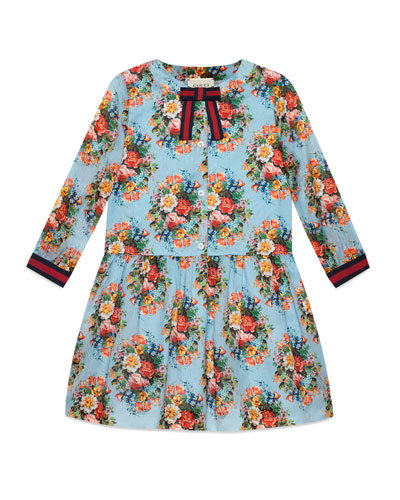 Long-Sleeve Floral Dress, Size 4-12