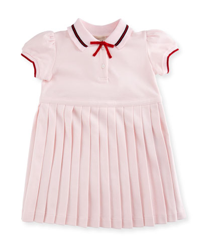 Sylvie Accordion-Pleat Polo Dress, Size 6-36 Months