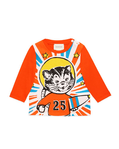 Long-Sleeve Space Cat T-Shirt, Size 9-36 Months