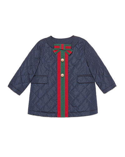 Padded Quilted Coat with Web Trim, Size 12-36 Months
