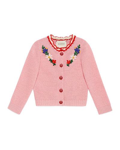 Flower Crochet Wool-Blend Cardigan, Size 6-24 Months