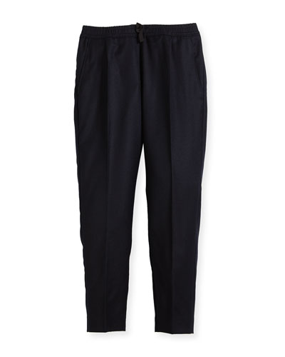 Wool-Cashmere Jogging Pants, Size 4-12