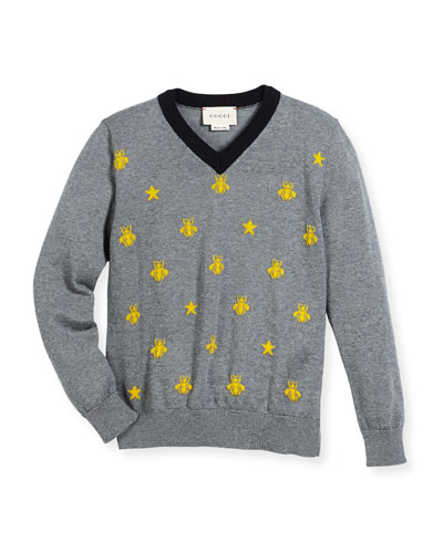 Long-Sleeve Bees & Stars Merino Wool Sweater, Size 4-12