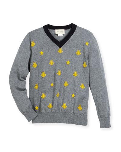 Long-Sleeve Bees & Stars Merino Wool Sweater, Size 4-12
