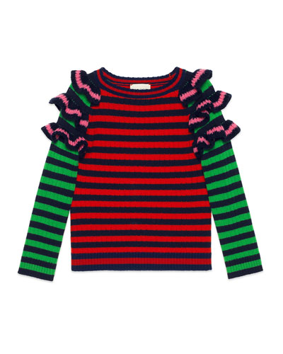 Striped Ruffle Wool Sweater, Size 4-12