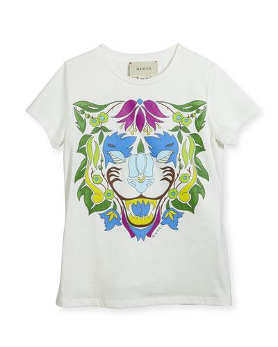 Short-Sleeve Lion T-Shirt, Size 4-12