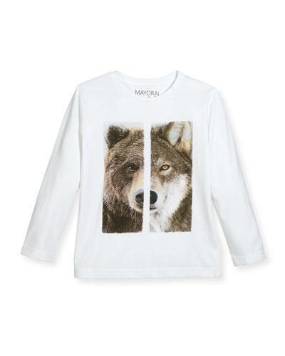 Wolf & Bear Long-Sleeve T-Shirt, Size 3-7
