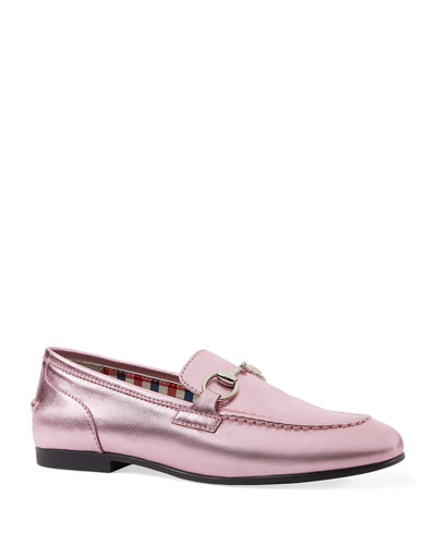 Metallic Leather Moccasin, Kids