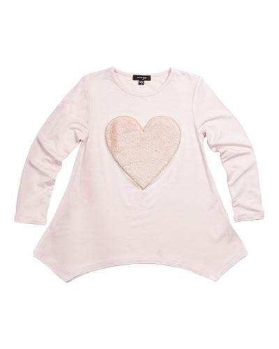Jersey Tunic w/ Fluffy Heart, Pink, Size 8-14