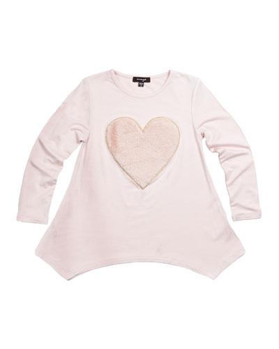 Jersey Tunic w/ Fluffy Heart, Pink, Size 2-6