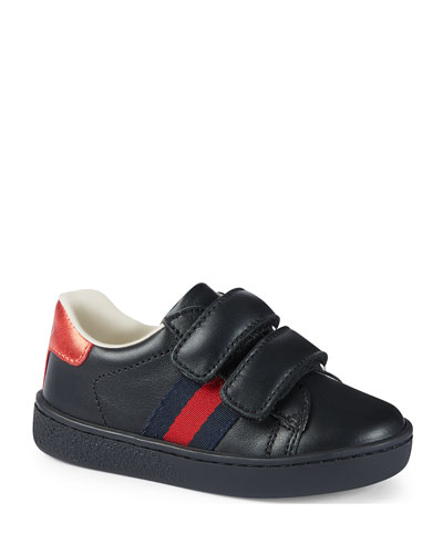 Leather Grip-Strap Sneaker, Toddler