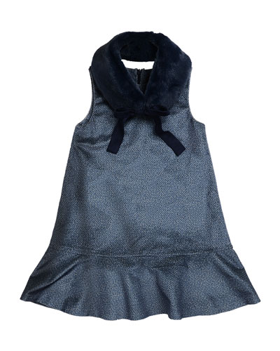 Penelope Velour Drop-Waist Faux-Fur Collar Dress, Blue, Size 2-6