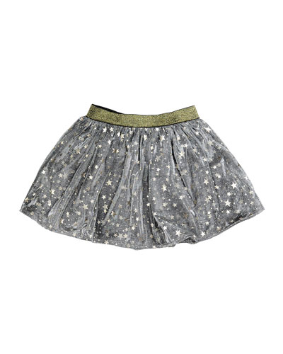 Helen Metallic Mesh Star Skirt, Gray, Size 8-14
