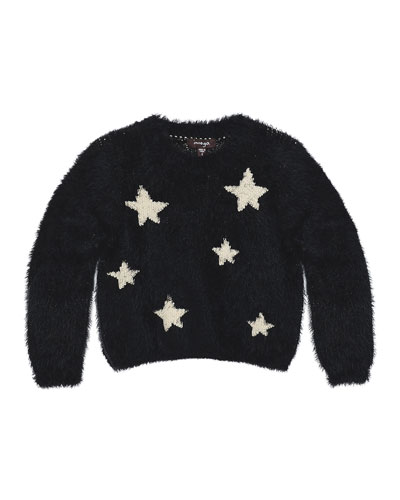 Chelsea Fluffy Knit Star Sweater, Black, Size 8-14