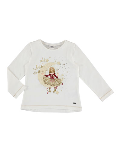 Long-Sleeve Girl in Moon Shirt, Size 3-7