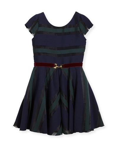 Ophelia Organza Shadow Stripe Dress w/ Belt, Size 7-16