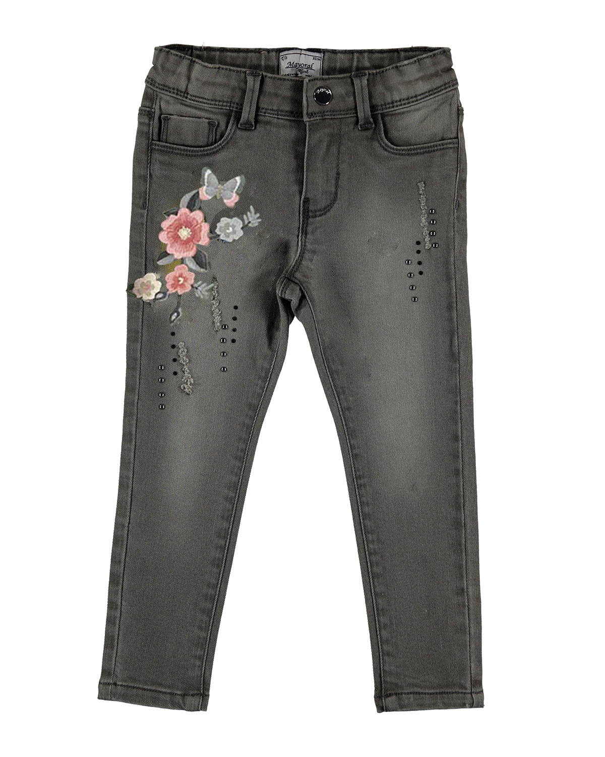 Floral Embroidered Jeans, Size 3-7