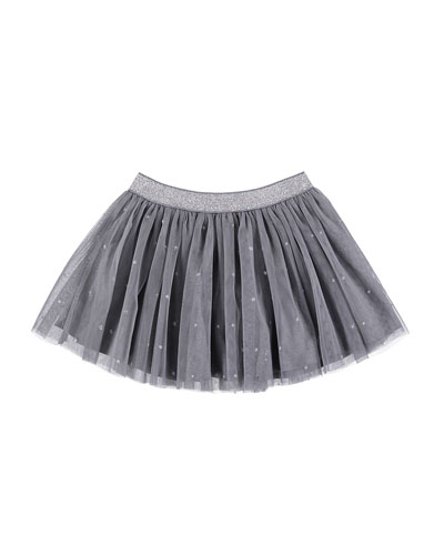 Stars Pleated Tulle Skirt, Size 3-7