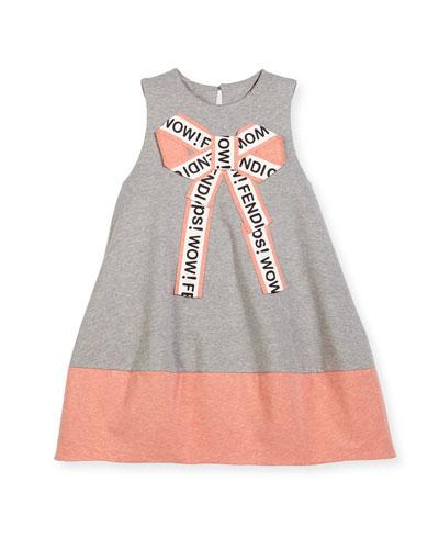 Girls' Sleeveless Logo Bow Dress, Size 3-5