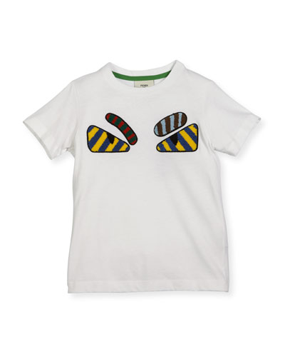 Boys' Short-Sleeve Embroidered Monster Eye T-Shirt, Size 10-14