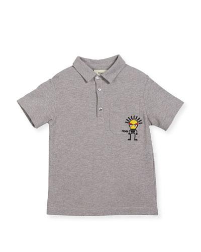 Boys' Short-Sleeve Polo with Light Bulb Detail, Size 3-5