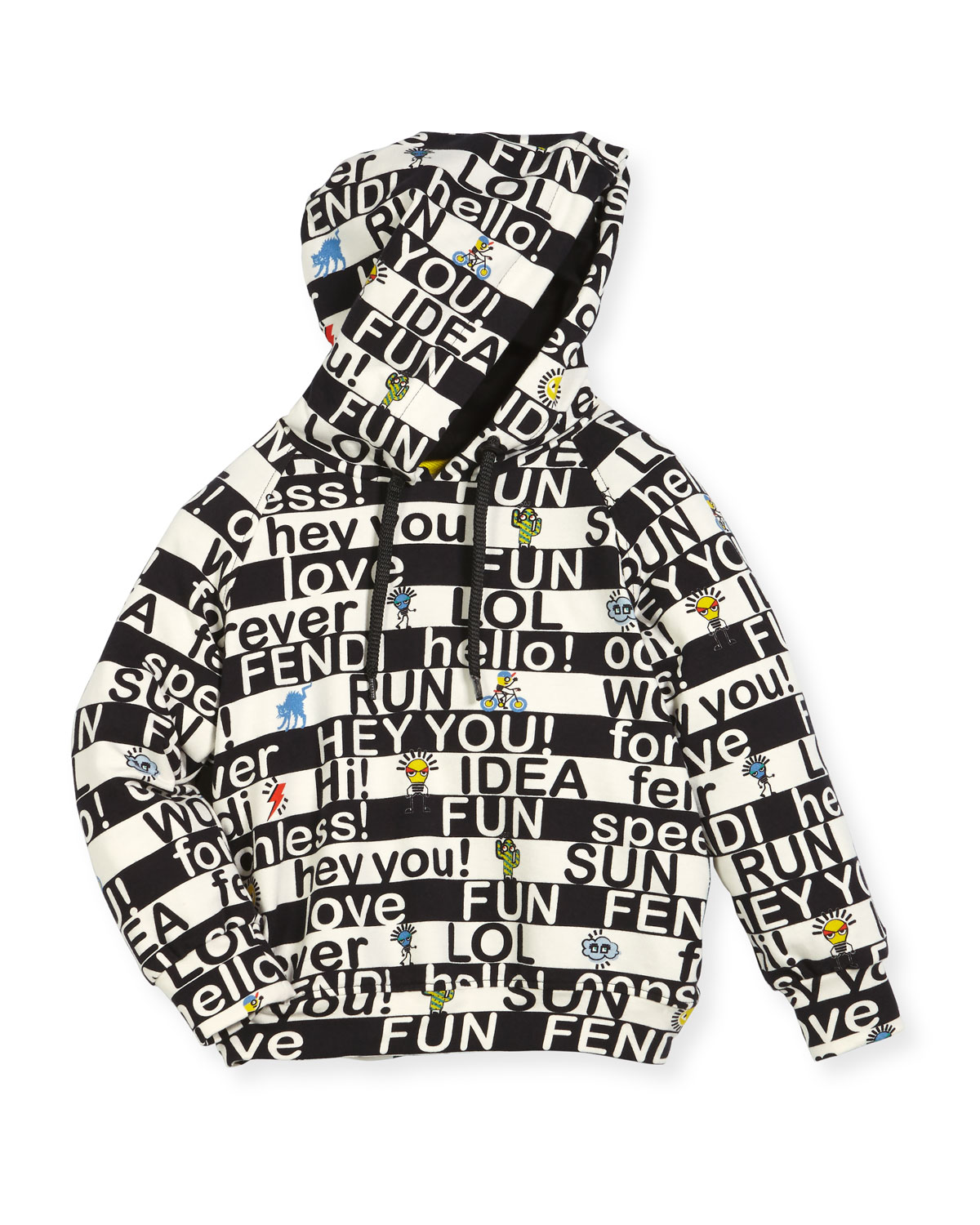 Fendi BOYS' ALLOVER WORDS GRAPHIC HOODED SWEATSHIRT