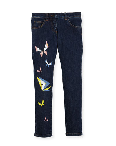 Girls' Butterfly Eyes Denim Pants, Size 3-5