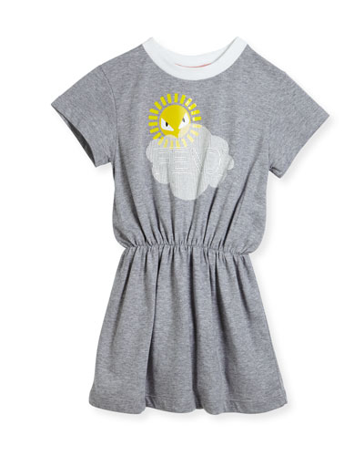 Short-Sleeve Logo Cloud Sun Graphic Dress, Size 6-8