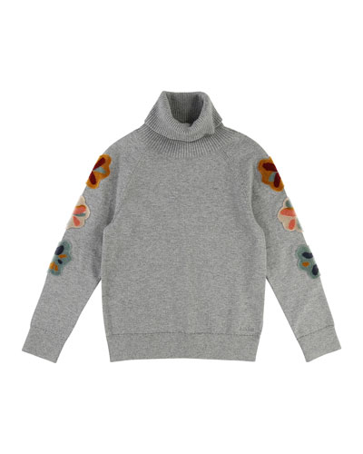 Mini Me Long-Sleeve Embroidered Turtleneck Sweater, Size 4-5