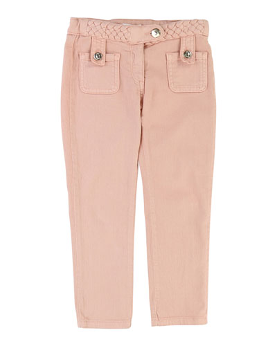 Denim Braided Trousers, Size 4-5