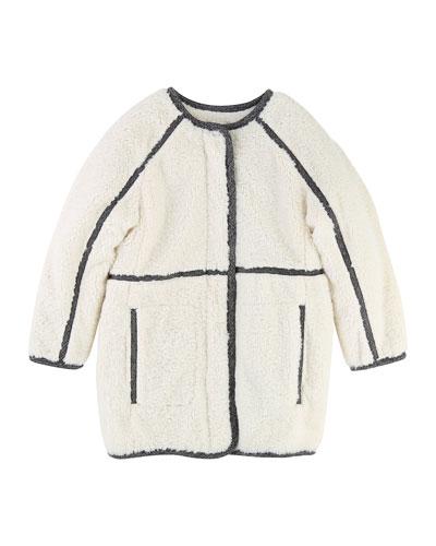 Soft Lined Coat w/ Contrast Trim, Size 6-10