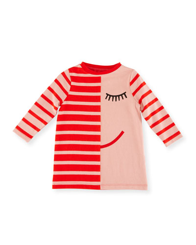 Charlotte Striped Jersey Dress w/ Face Print, Size 12-36 Months