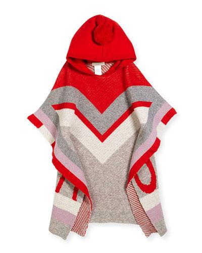 Bianca Hooded Wool Poncho, Size 4-14