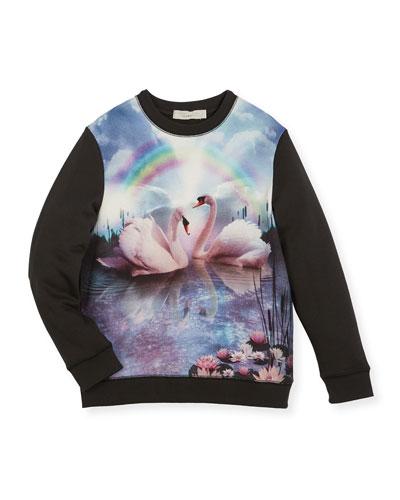 Betty Rainbow & Swan Sweatshirt, Size 4-14