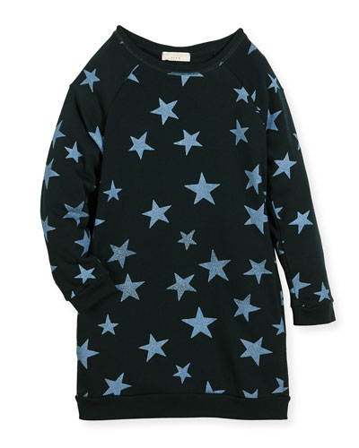 Leona Star-Print Fleece Dress, Size 4-14