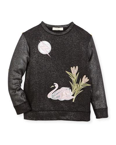Valeria Metallic Swan Sweater, Size 4-14