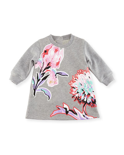Big Flower Sweater Dress, Gray, Size 2-3Y