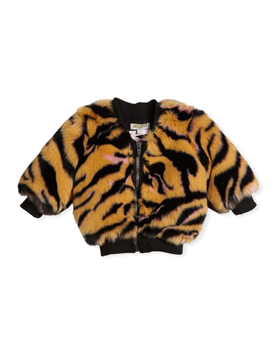 Faux-Fur Tiger Jacket, Size 2-3
