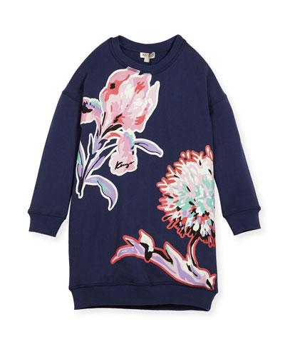 Big Flower Sweat Dress, Size 8-12