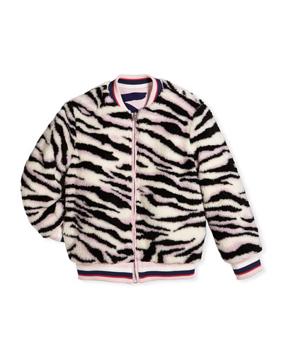 Reversible Faux-Fur Zebra Print Jacket, Size 8-12