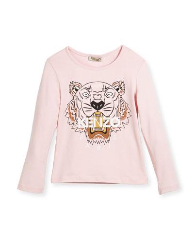 Long-Sleeve Tiger T-Shirt, Size 4-6
